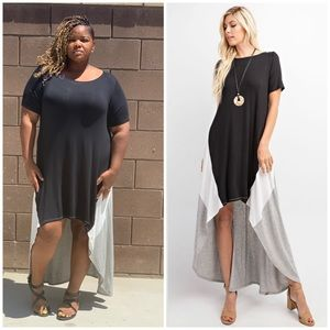 Plus Size Color Block Hi Low Maxi Dress